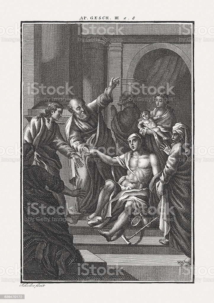 The Lame Man Healed by Peter and John (Acts 3) stock photo
