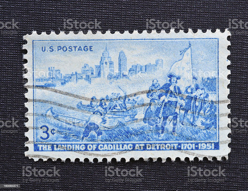 The Landing of Cadillac in Detroit 3 cent stamp stock photo