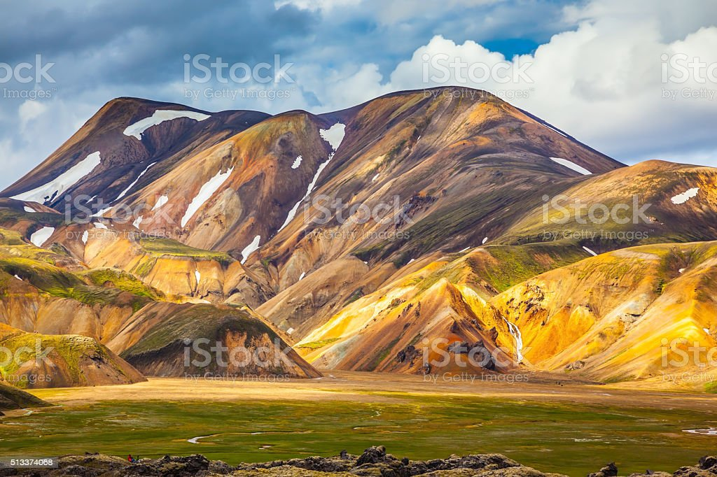 The Landmannalaugar in warm sunlight stock photo
