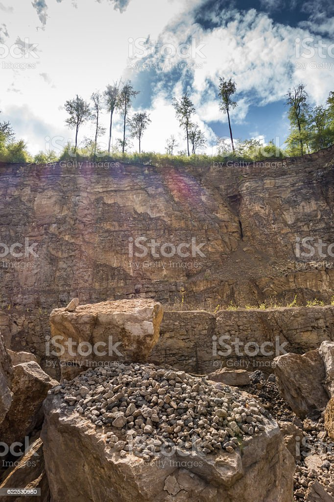 The landscape in old and abandoned quarry stock photo