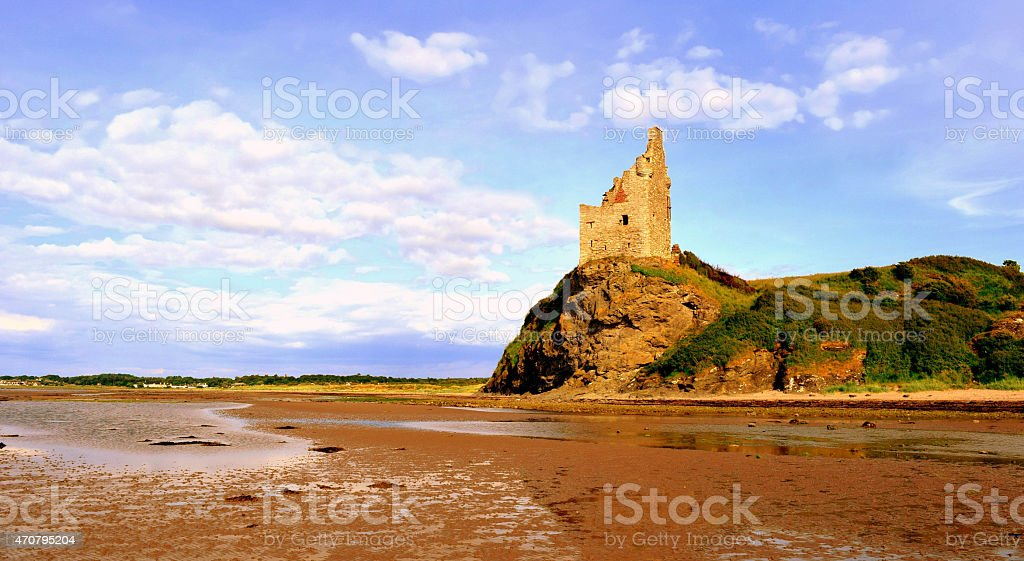 The landscape of Greenan Castle stock photo