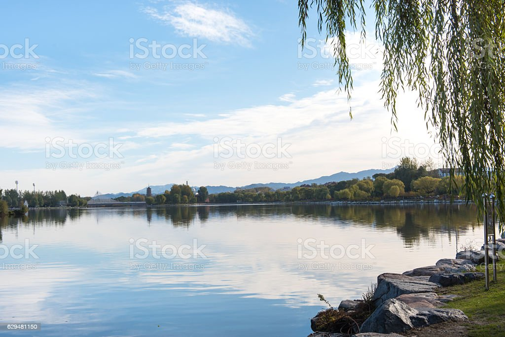 The landscape of lakes and mountains. stock photo
