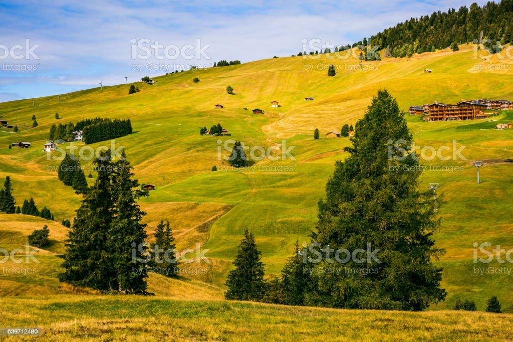 The landscape of the Alps di Siusi stock photo
