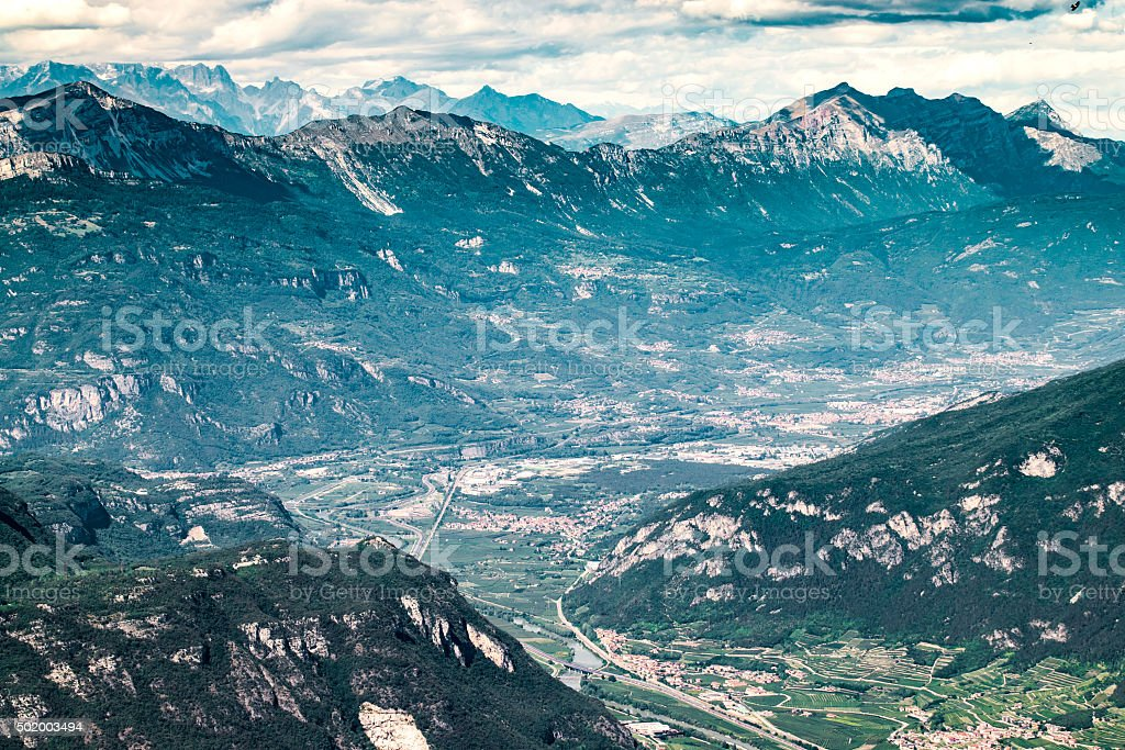 The landscape of the 'Valley of the river Adige'. stock photo