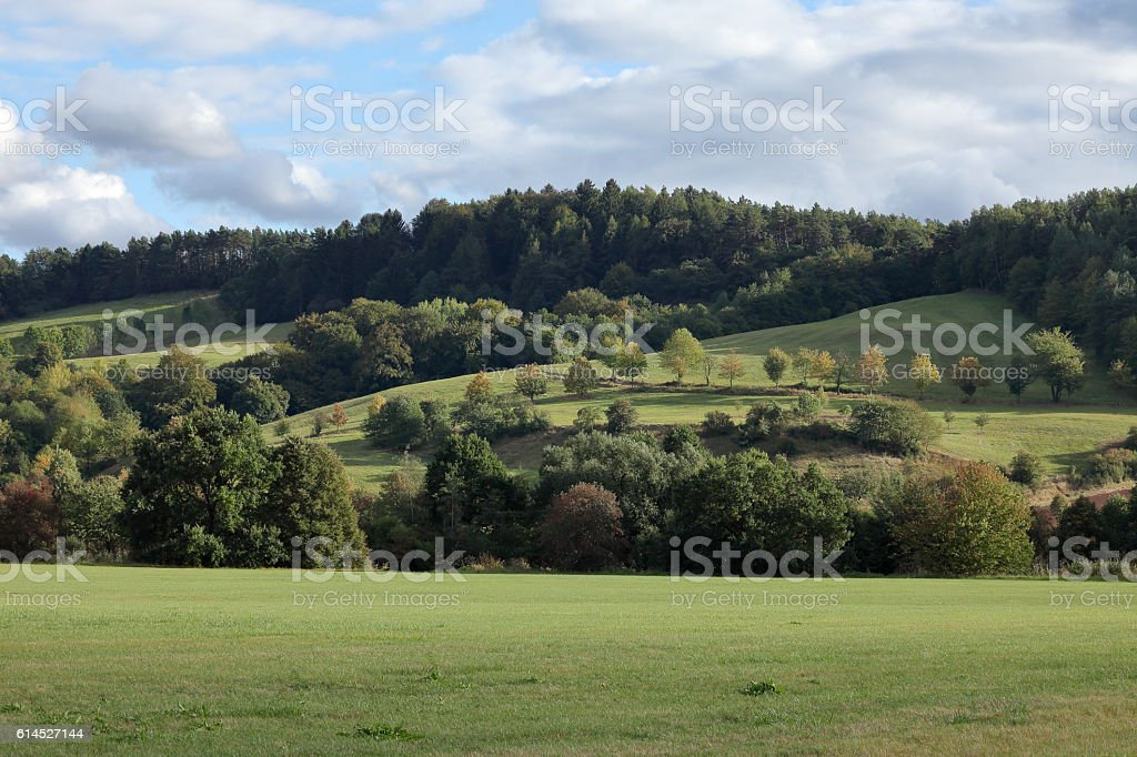 The landscape of the Werra Valley in autumn stock photo