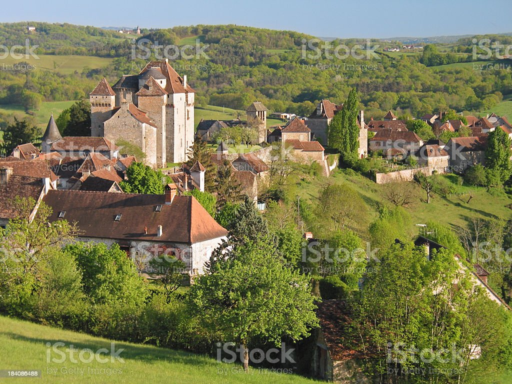 The landscape view of Curemonte stock photo