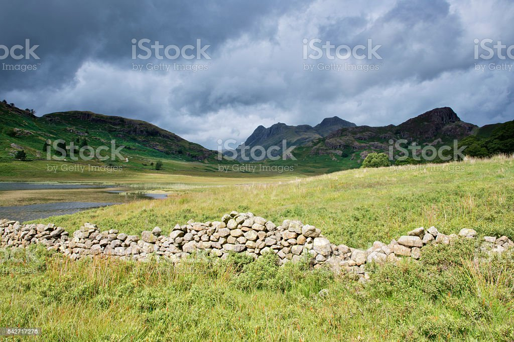 The Langdale Pikes in Spring Stormy Weather stock photo