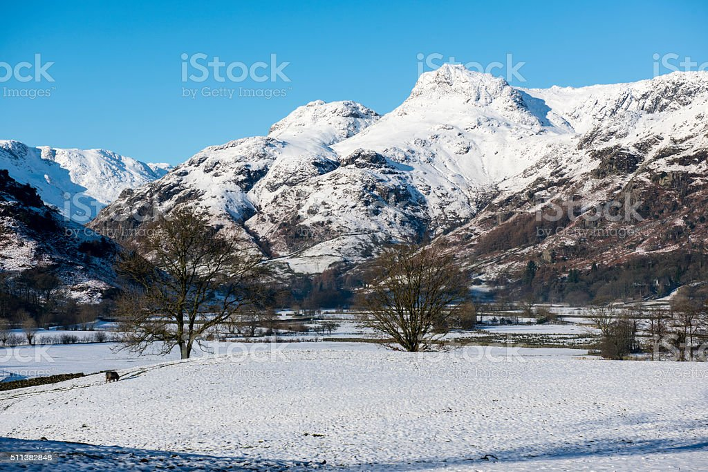 The Langdales in the Winter, The Lake District, UK stock photo