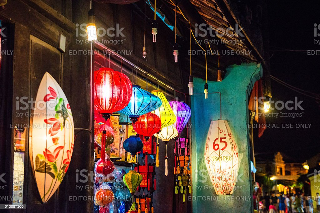 The lanterns at the front door of the shop stock photo