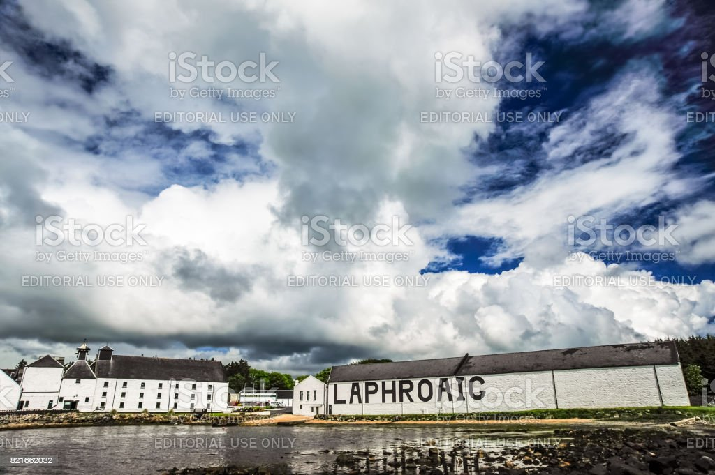 The Laphroaig Distillery under a dramatic sky stock photo