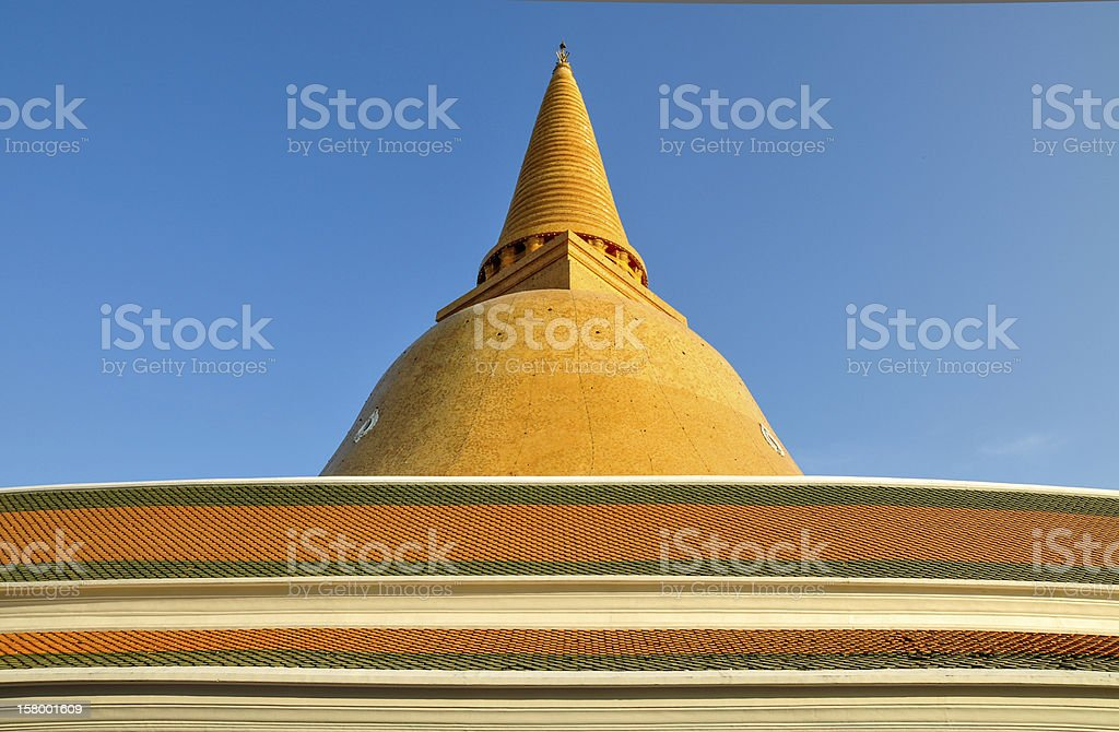 The large pagoda with roof, Thailand. royalty-free stock photo