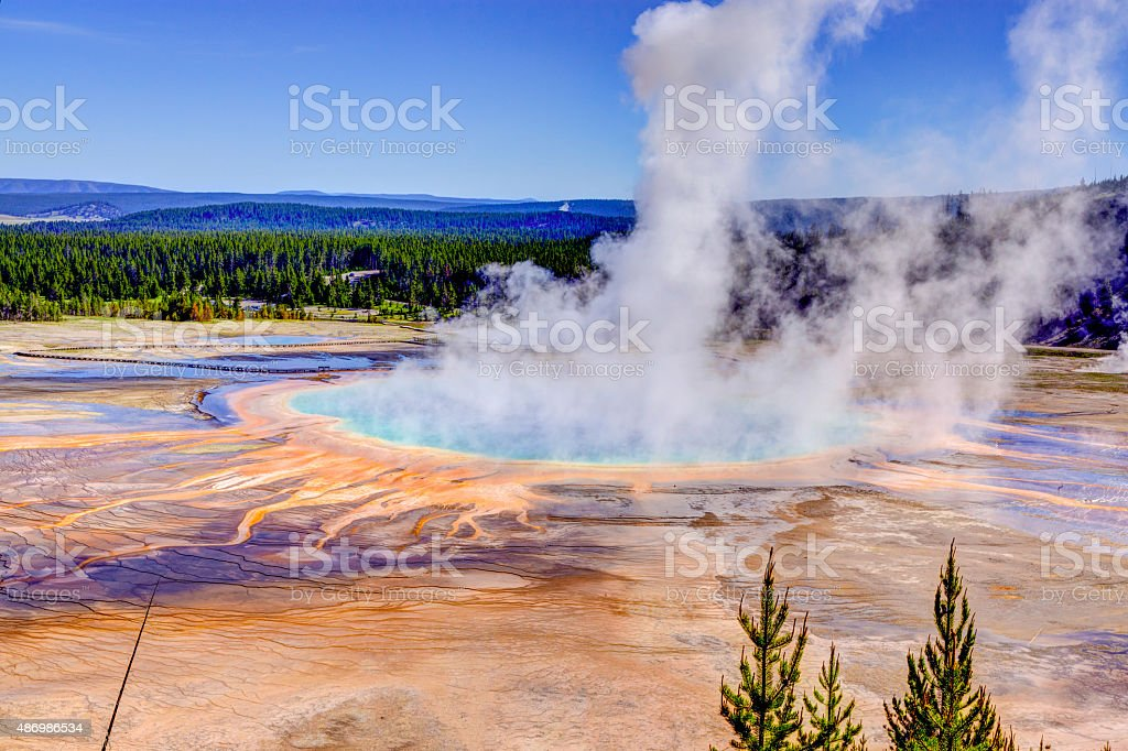 The largest hot spring in the United States, Grand Prismatic stock photo