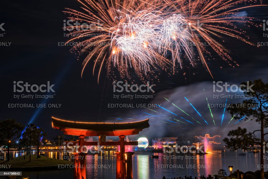 The Laser And Fireworks Evening Show At The Epcot Center In Disney World stock photo