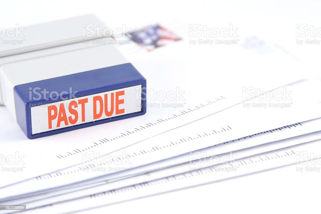 The last due bills and the stamp stock photo