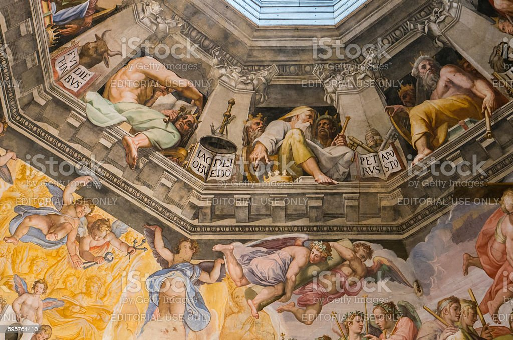 The Last Judgement, detail from the cupola of the Duomo stock photo