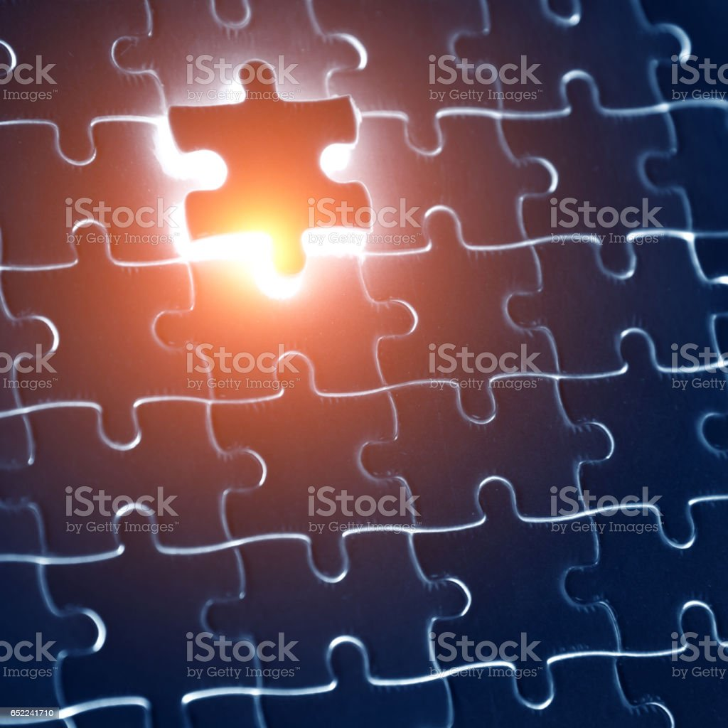 The last piece of puzzle stock photo