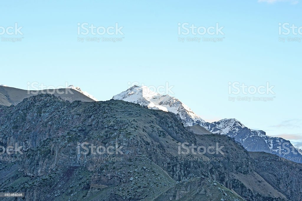 The last rays of the sun on the mountaintop, Georgia stock photo