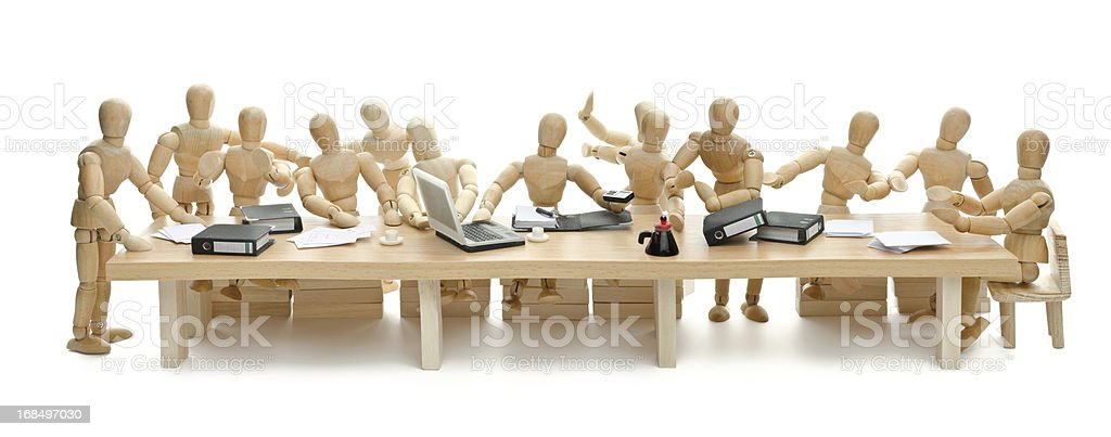 The last Supper of wooden mannequin stock photo