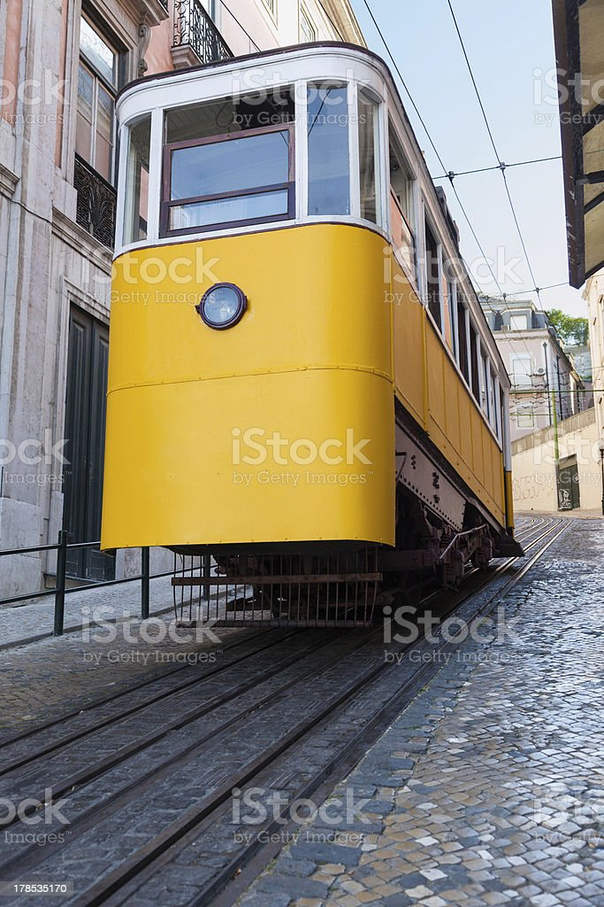 The Lavra funicular in Lisbon royalty-free stock photo
