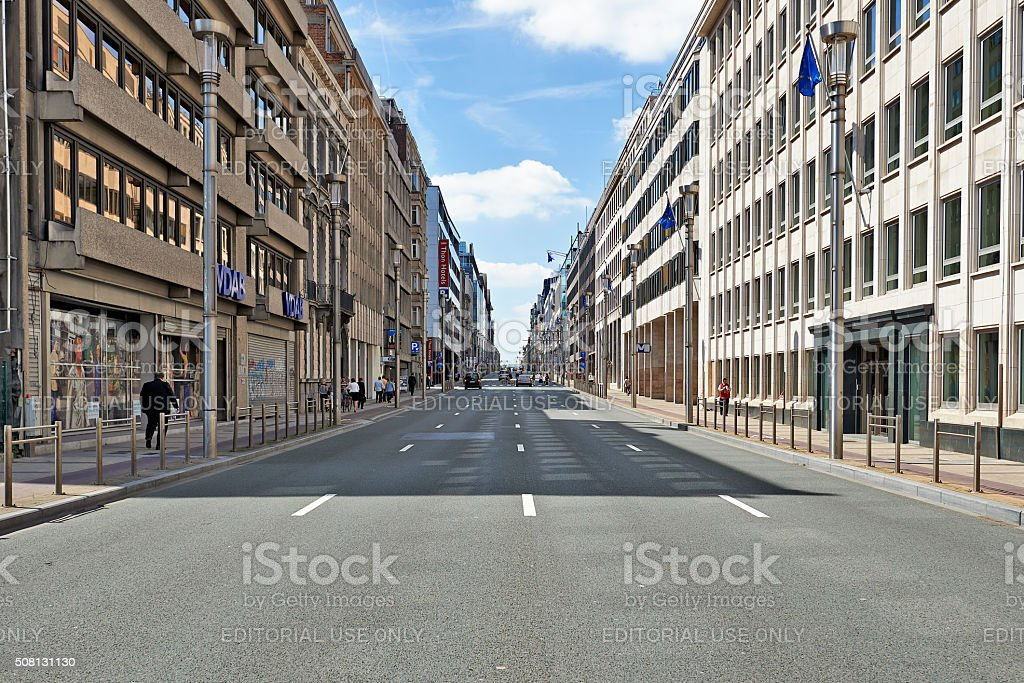 The 'Law-street' in Brussels stock photo