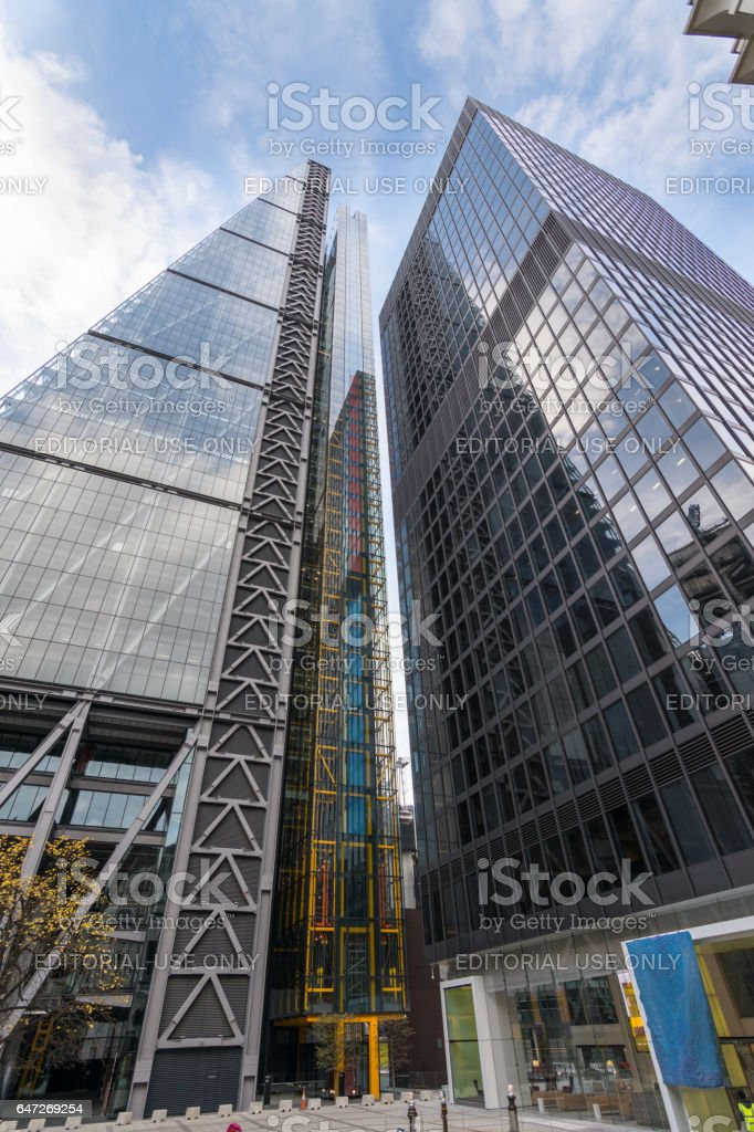 The Leadenhall building, a skyscraper in the City of London with St Helen's building next to it (22 Oct 2016) stock photo