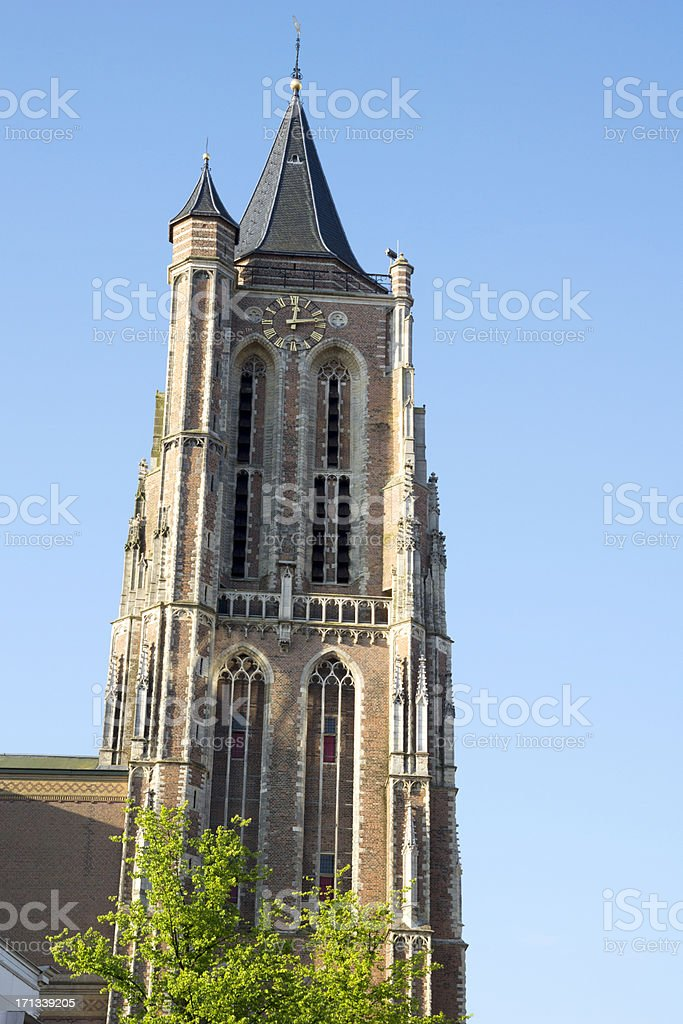 The leaning church tower of Gorinchem stock photo
