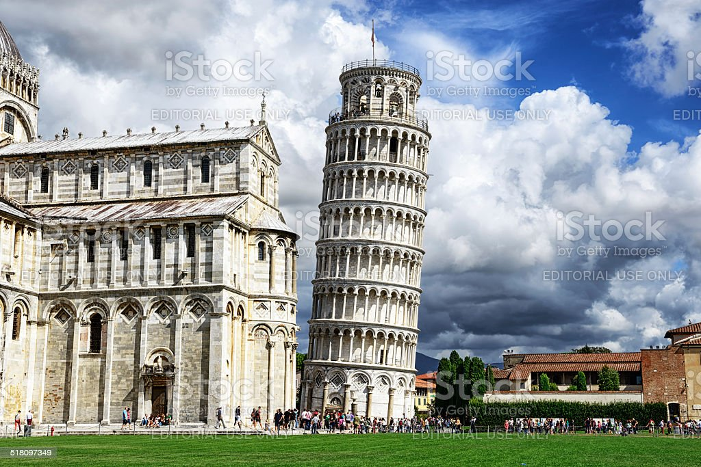 The  Leaning Tower of Pisa and Duomo stock photo