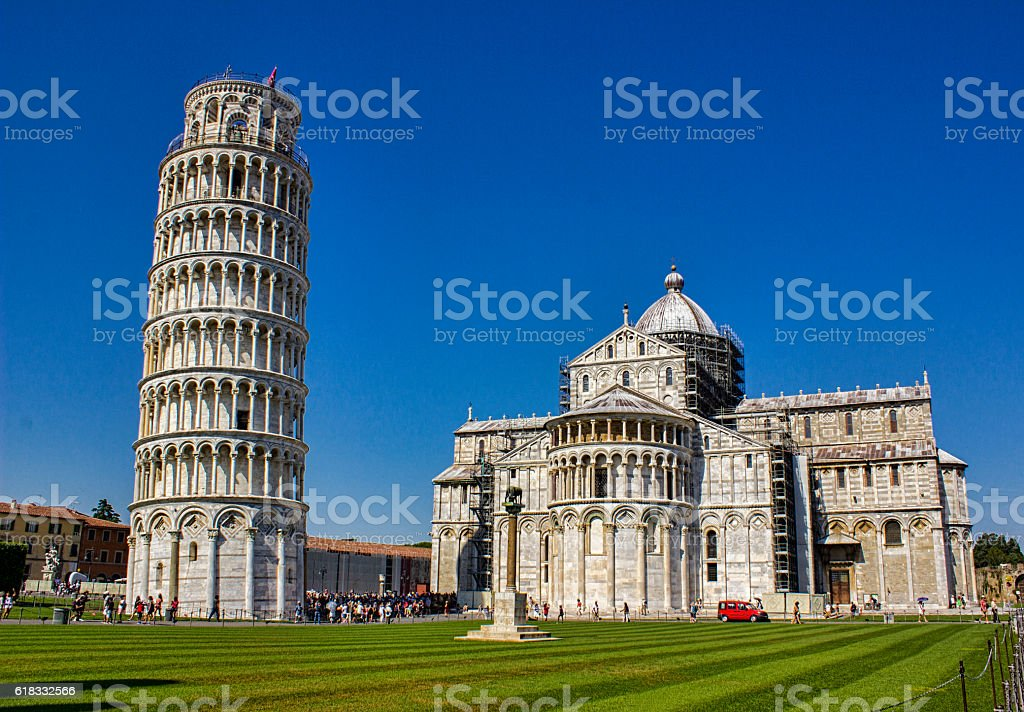 The Leaning Tower of Pisa in Italy stock photo