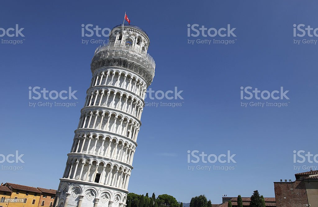 The Leaning Tower of Pisa landmark in Italy stock photo