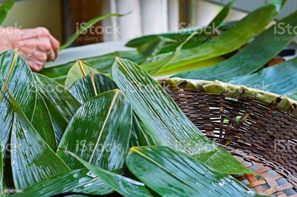 The Leaves for Zongzi, Traditional Chinese Rice Dumplings stock photo