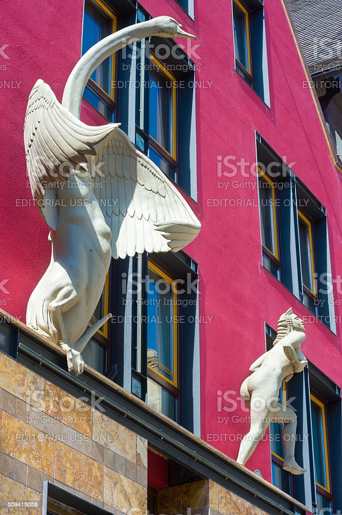 The Leda and the Swan sculpture in Horb am Neckar stock photo