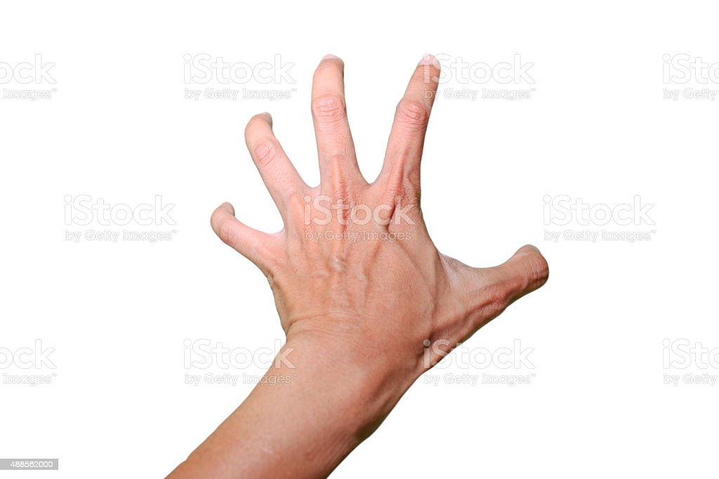 The left hand is grabbing something with white background stock photo