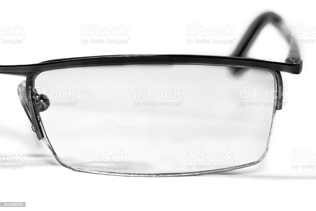 The left side of glasses stock photo