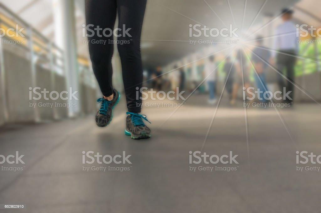 The legs of a woman wearing Legging fitness wear sports stock photo