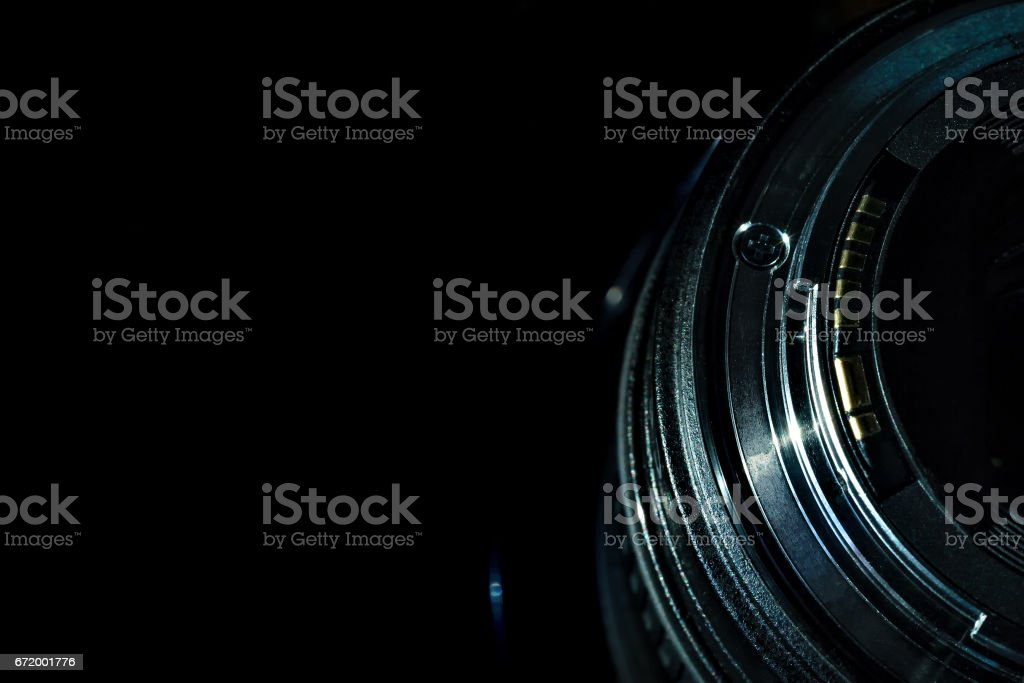 The lens of the camera stock photo