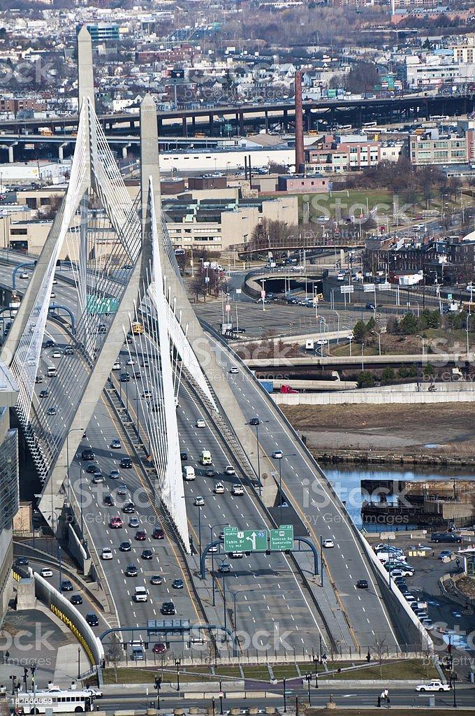 The Leonard P. Zakim Bunker Hill Memorial Bridge stock photo