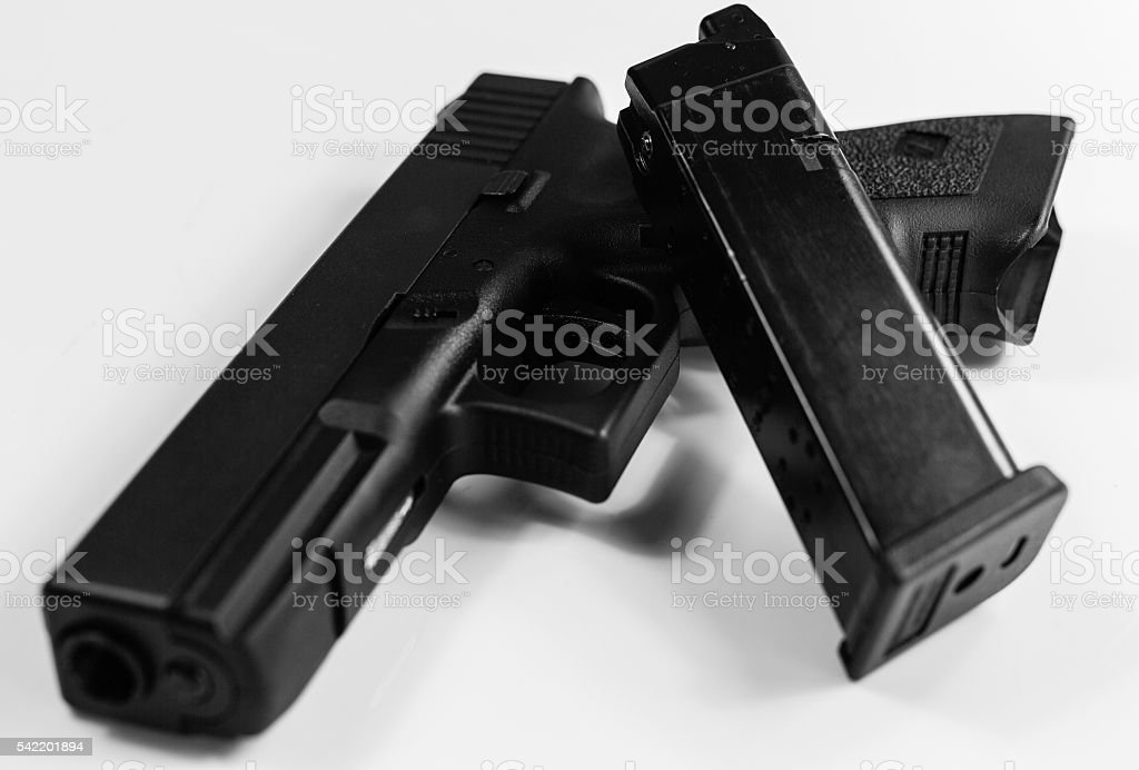 The lethal weapon, black and white stock photo