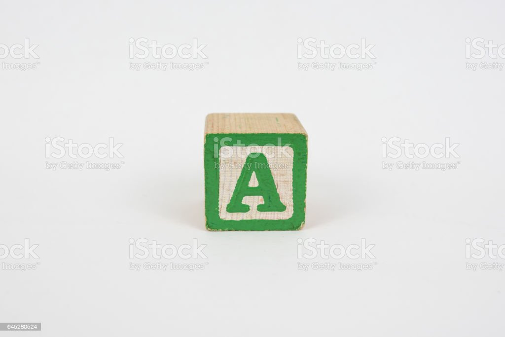 The Letter A in Colorful Wooden Children's Blocks stock photo