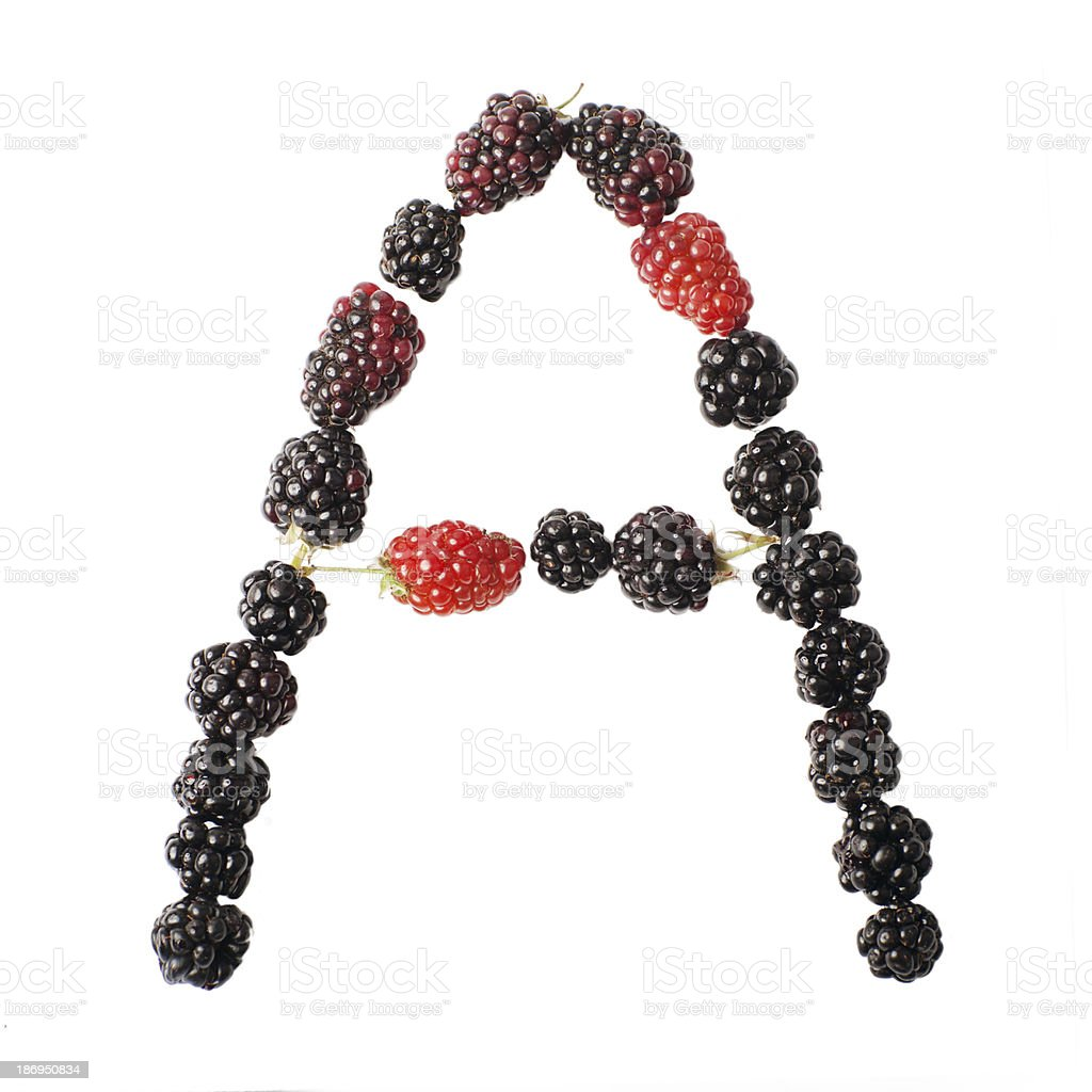 The letter A made ​​up of blackberries royalty-free stock photo
