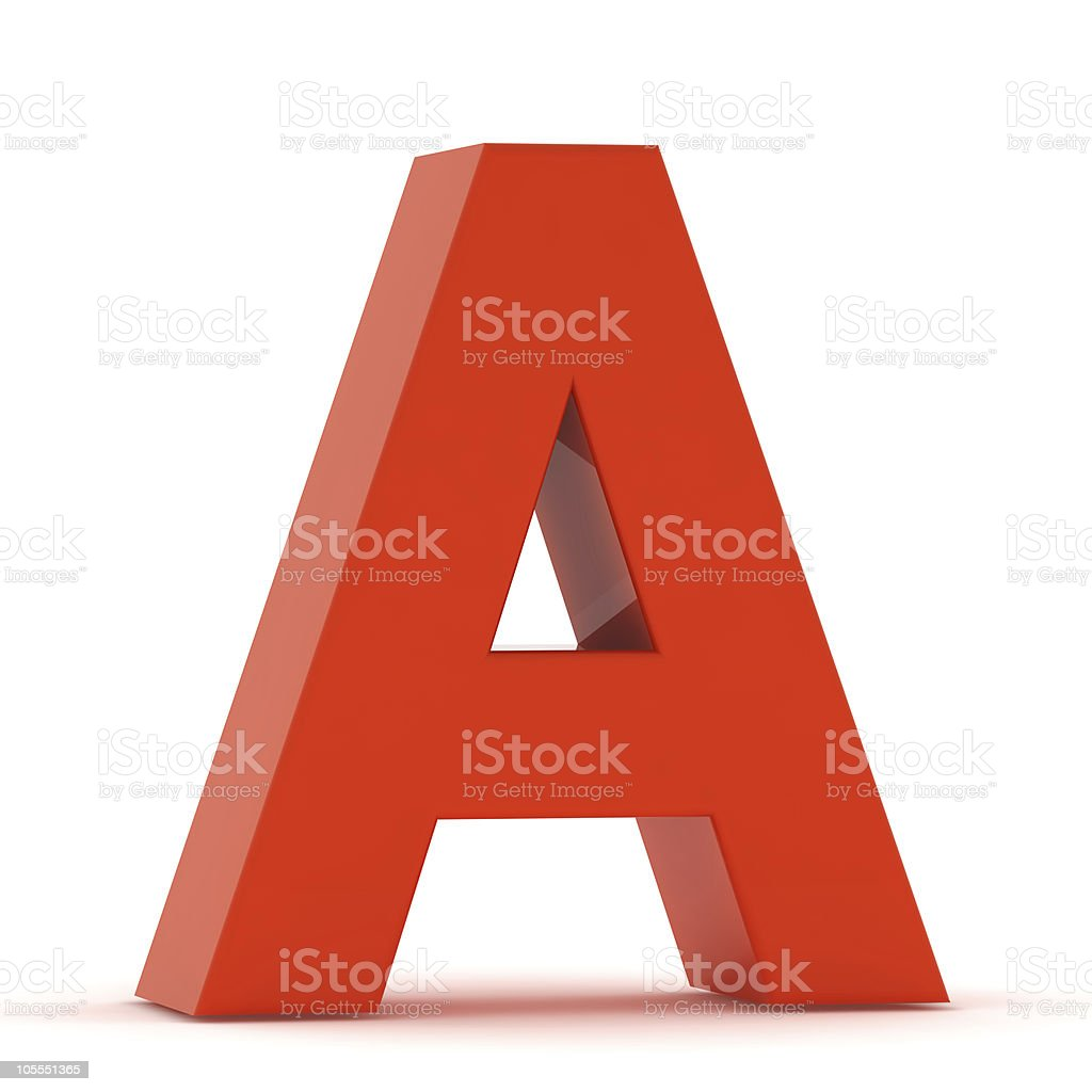 The Letter A - Red Plastic stock photo