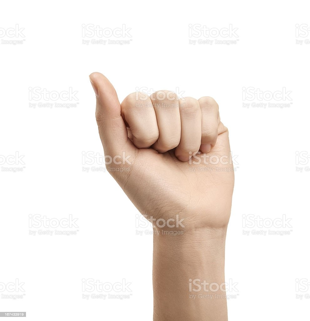 The letter A using American Sign Language royalty-free stock photo