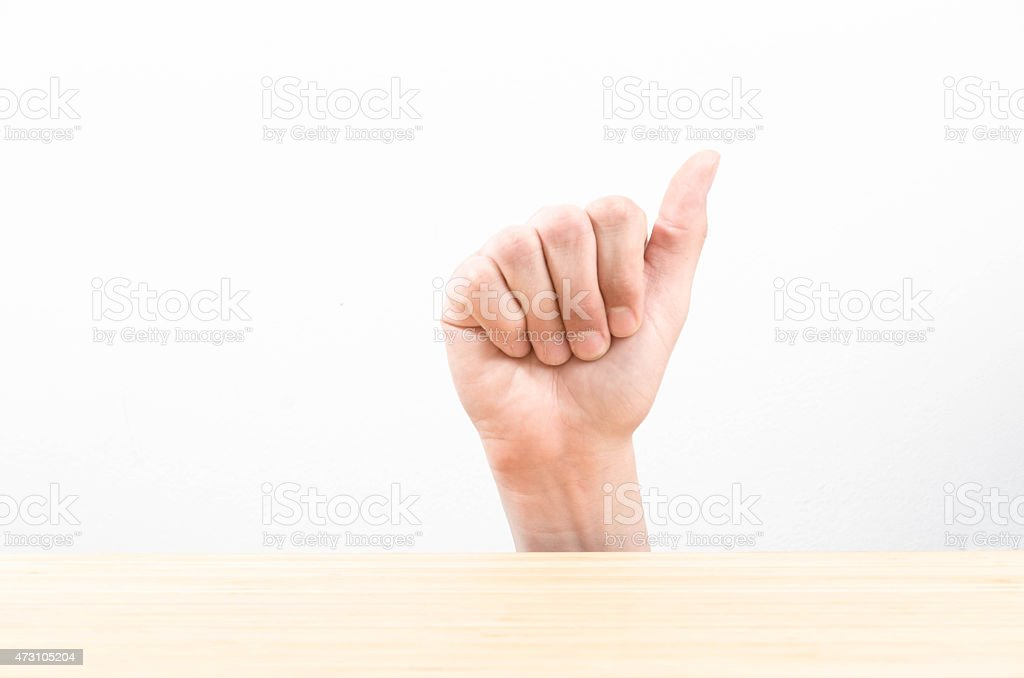 The letter A using American Sign Language stock photo