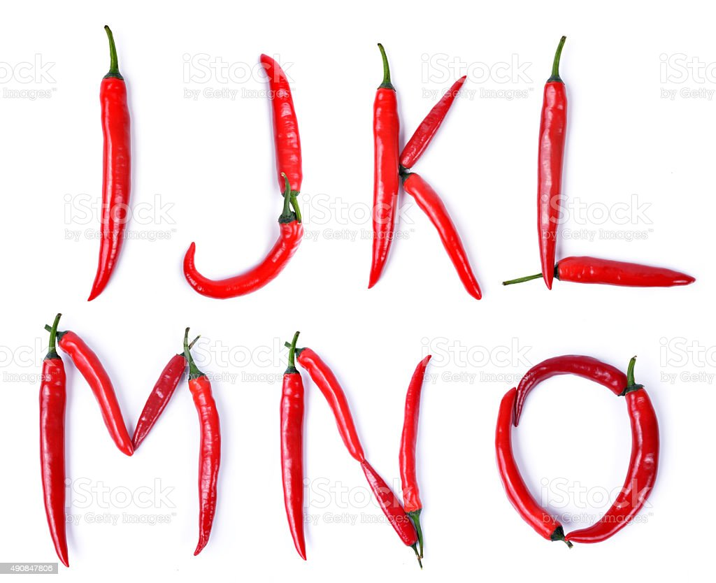 The letter composed of red chili peppers stock photo