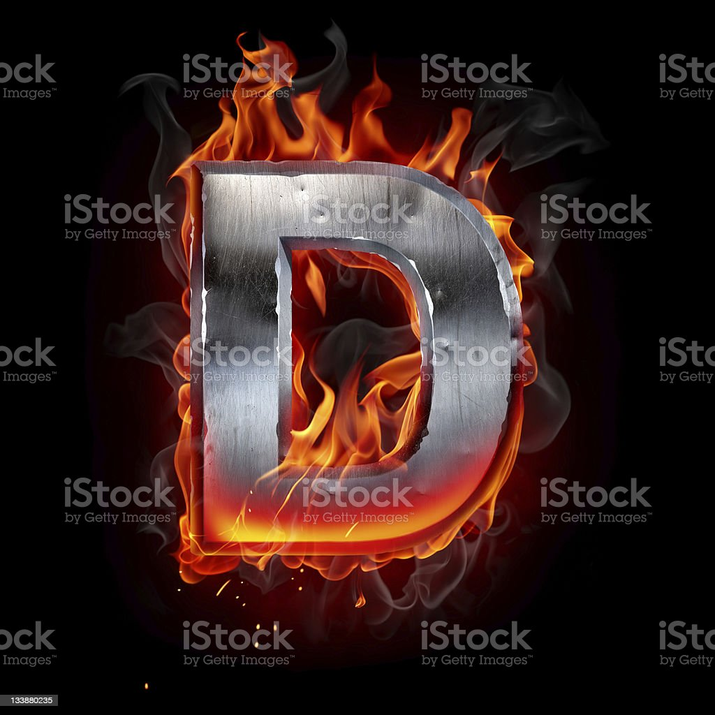 The letter D made of metal surrounded by fire stock photo