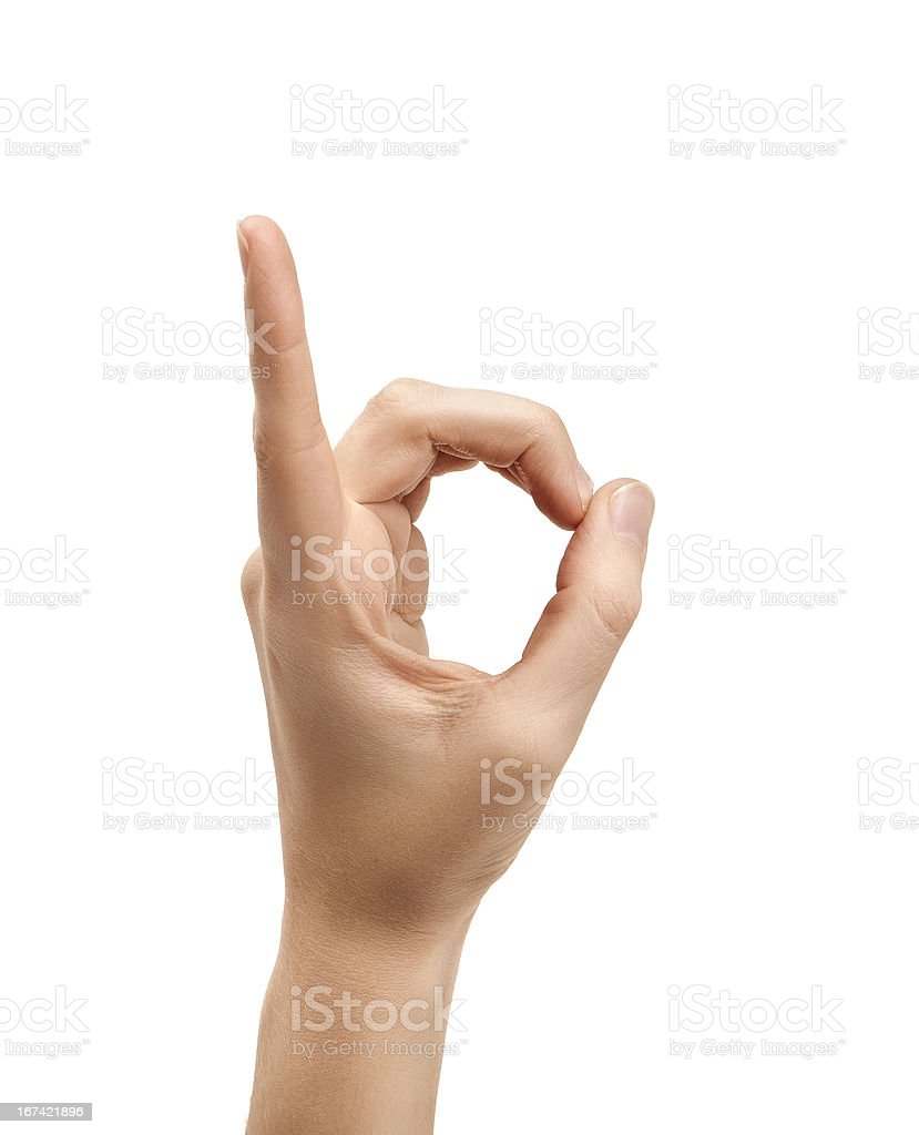 The letter D using American Sign Language stock photo