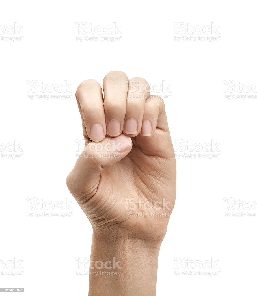The letter E using American Sign Language stock photo