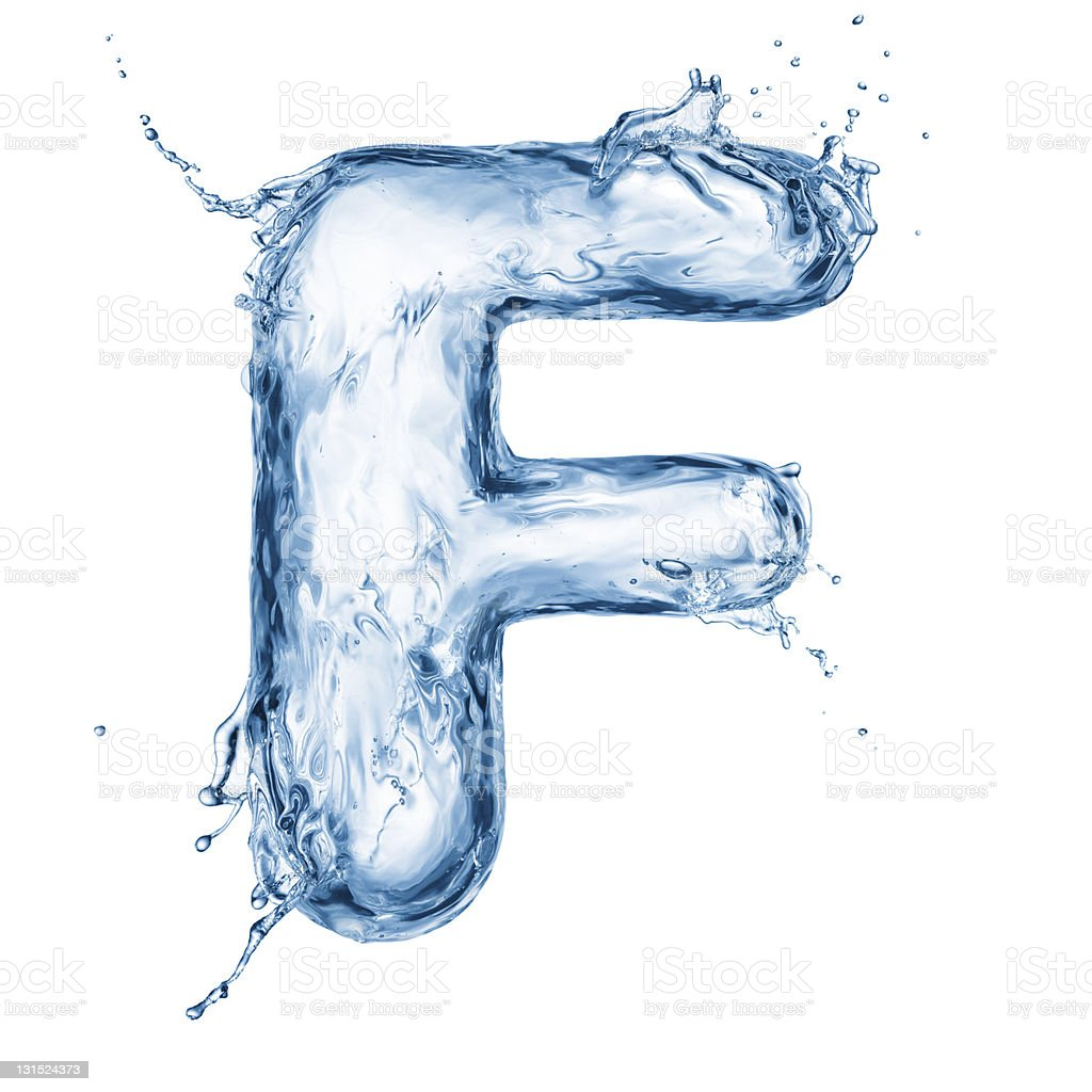 The letter F made out of encapsulate blue water royalty-free stock photo