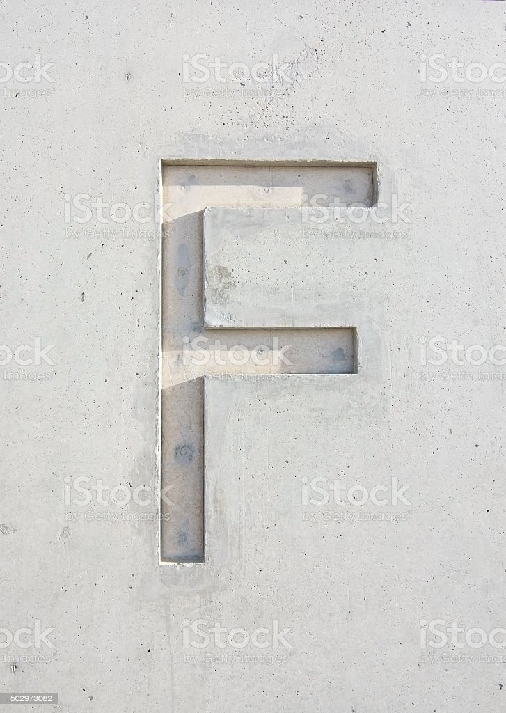 The letter 'F' stock photo