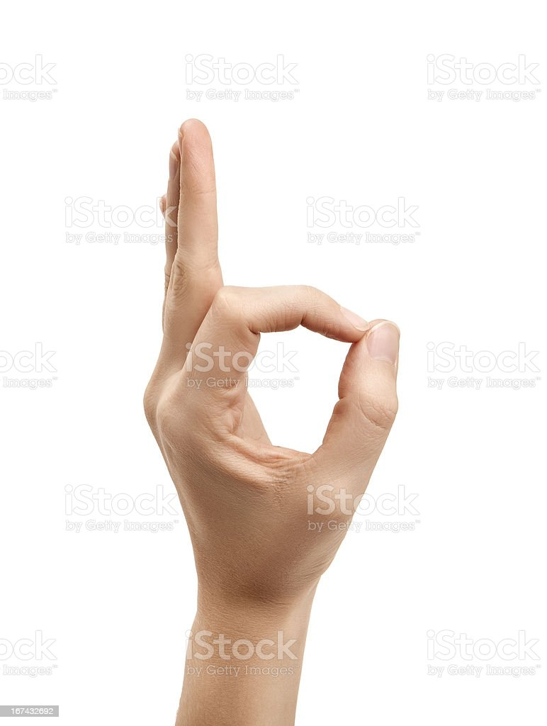 The letter F using American Sign Language stock photo