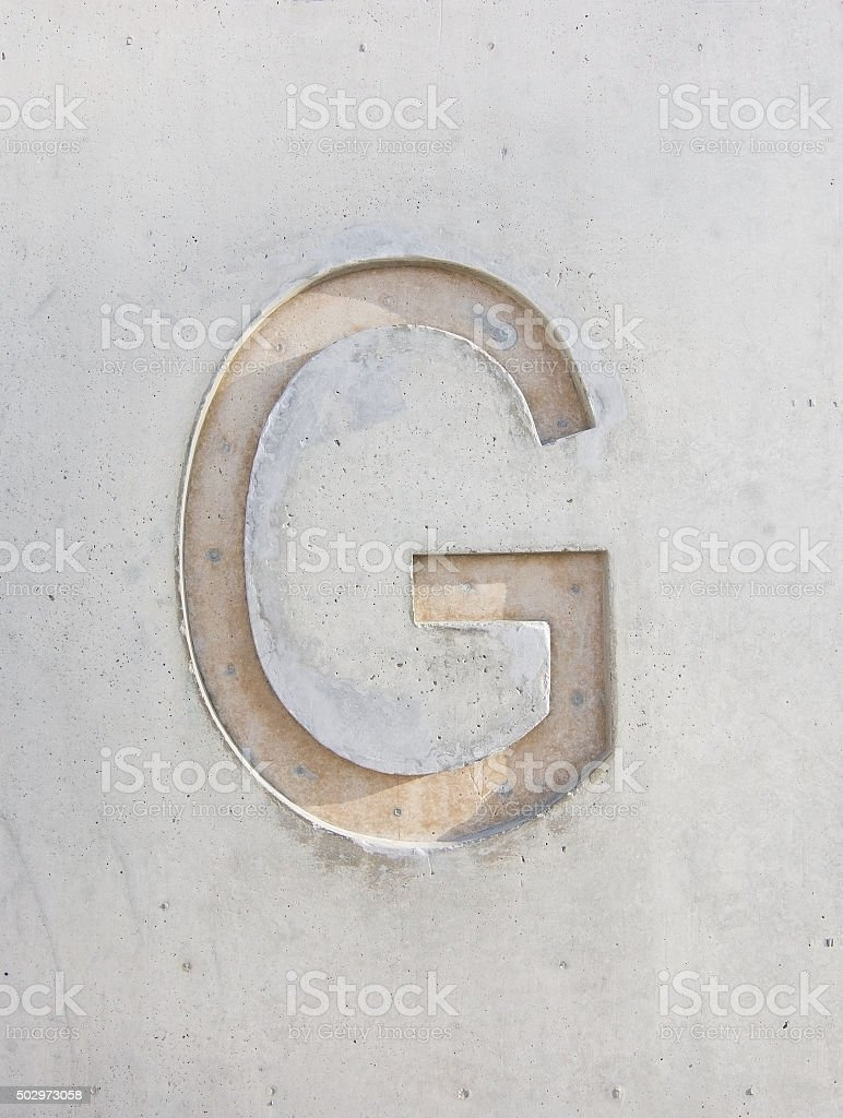 The letter 'G' stock photo